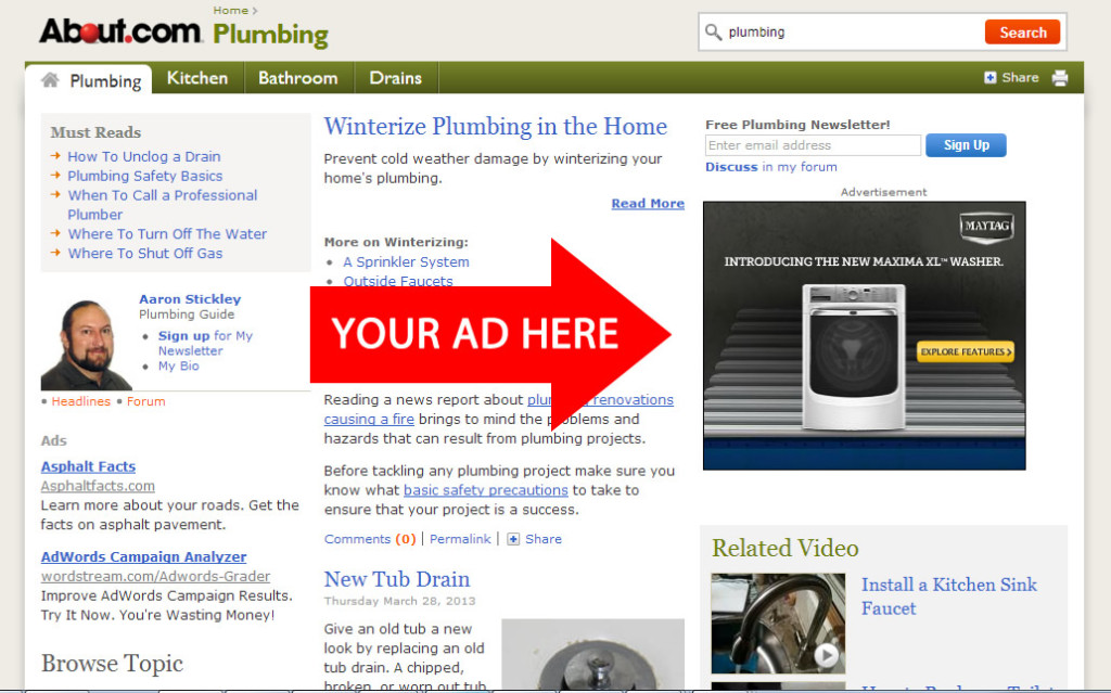 about plumbing display advertising example